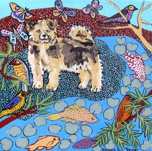 Fuzzy Pup in Landscape by